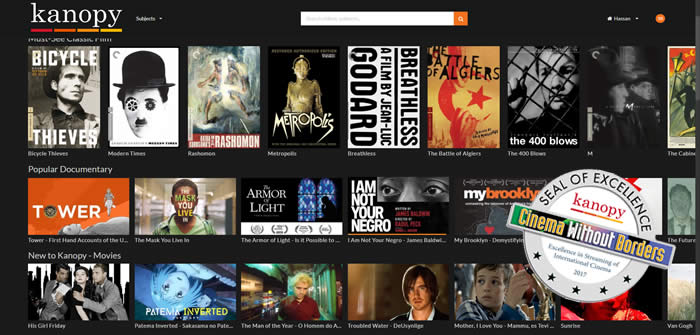 Kanopy Wins CWB's Seal of Excellence Award for Best International Cinema Streaming site